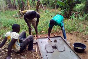 The Water Project: Mwichina Community, Mwichina Spring -  Sanitation Platform Construction