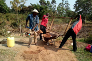The Water Project: Shihingo Community, Mulambala Spring -  Men Helping Sift Sand For Construction