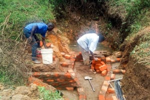 The Water Project: Ikonyero Community, Jesse Spring -  Construction