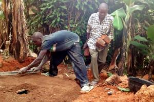 The Water Project: Lwenya Community, Warosi Spring -  Sanitation Platform Construction