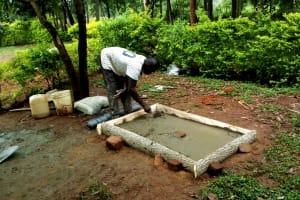 The Water Project: Elukani Community, Ongari Spring -  Sanitation Platform Construction