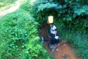 The Water Project: Shirakala Community, Ambani Spring -  Kenya Woman Carries Jerrycan Of Water On Her Head