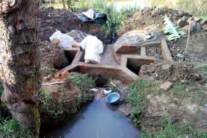 The Water Project: Musango Community, M'muse Spring -  Protection Underway