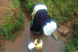 The Water Project: Emulakha Community, Alukoye Spring -  Woman Fills Container With Water At Source