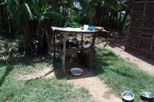 The Water Project: Handidi Community, Chisembe Spring -  Dishes Drying On The Rack