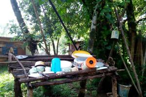 The Water Project: Irumbi Community, Okang'a Spring -  Sample Dishrack