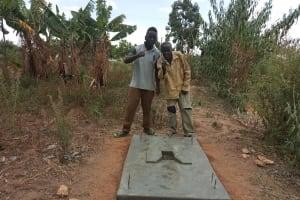 The Water Project: Futsi Fuvili Community, Simeon Shimaka Spring -  Completed Sanitation Platform