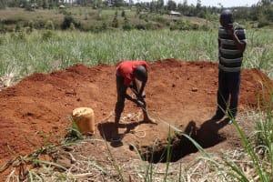 The Water Project: Elukuto Community, Isa Spring -  Construction Underway