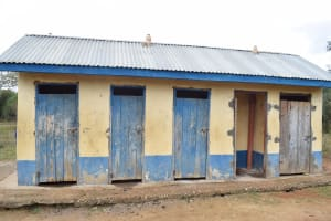 The Water Project: Kyamatula Primary School -  Girls Latrines