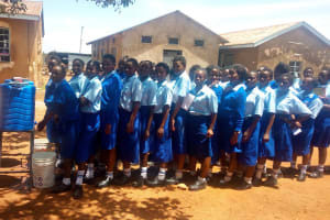 The Water Project: St. Mary's Girl's High School -  Lining Up To Use New Handwashing Stations