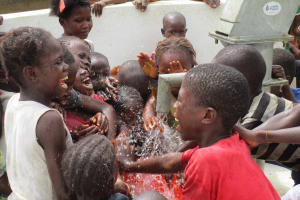 The Water Project: Tholmosor Community, Alpha Dabola Road -  Kids Excited By New Water Point