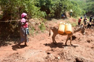 The Water Project: Mbuuni Community B -  Bringing Water For Construction