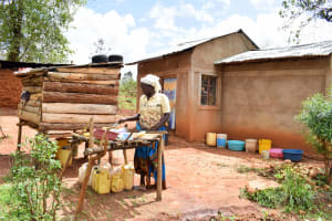 The Water Project: Kitandini Community A -  Mrs Daniel At Her Dish Rack