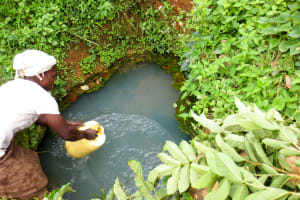The Water Project: Handidi Community, Chisembe Spring -  Rosemary Getting Water From Chisembe Spring
