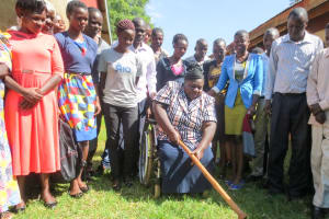 The Water Project: Namalasire Primary School -  Principal Breaking First Ground