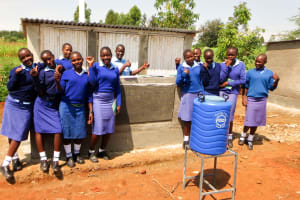 The Water Project: Eshisenye Girls Secondary School -  Finished Latrines And Handwashing Station