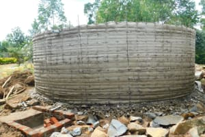 The Water Project: JM Rembe Primary School -  Cement Drying On Tank