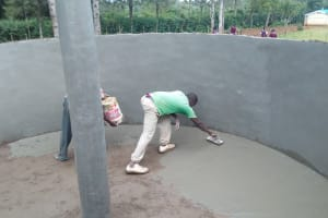 The Water Project: Essong'olo Secondary School -  Constructing Interior Of Cement Tank