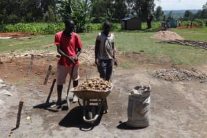 The Water Project: Musabale Primary School -  Materials Gathered To Start Tank Construction