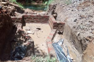 The Water Project: Wasenje Community, Margaret Jumba Spring -  Spring Ready For Concrete