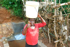 The Water Project: Jivovoli Community, Wamunala Spring -  Thumbs Up For The Protected Spring