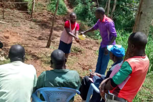 The Water Project: Jivovoli Community, Gideon Asonga Spring -  Handwashing Demonstration