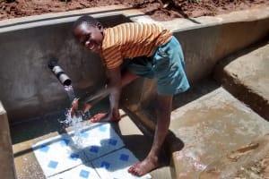 The Water Project: Jivovoli Community, Gideon Asonga Spring -  Safe Water Flowing
