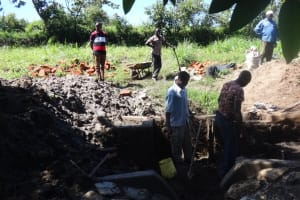 The Water Project: Ingavira Community, Laban Mwanzo Spring -  Construction Underway