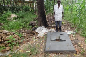 The Water Project: Masera Community, Ernest Mumbo Spring -  Posing With New Sanitation Platform