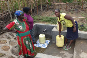 The Water Project: Masera Community, Salim Hassan Spring -  Fetching Safe Water
