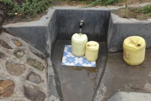 The Water Project: Masera Community, Salim Hassan Spring -  Jerricans Fill With Clean Water