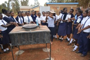 The Water Project: Mbuuni Secondary School -  Students Learn About Handwashing
