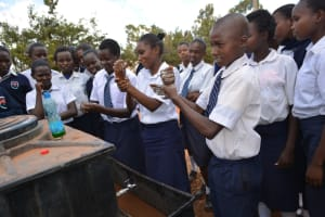 The Water Project: Mbuuni Secondary School -  Students Partipate In Handwashing