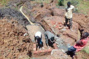 The Water Project: Lwangele Community, Machayo Spring -  Spring Protection Construction