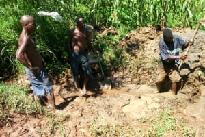 The Water Project: Mwituwa Community, Shikunyi Spring -  Spring Protection Excavation