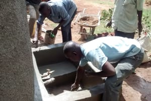 The Water Project: Mwanzo Primary School -  Finishing The Catchment Area
