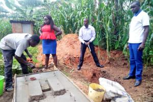 The Water Project: Muraka Community, Peter Itevete Spring -  Sanitation Platform Construction