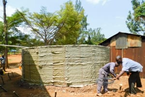 The Water Project: Emmaloba Primary School -  Tank Construction