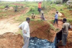 The Water Project: Lwangele Community, Machayo Spring -  Spring Box Construction