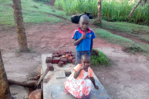 The Water Project: Lwangele Community, Machayo Spring -  Sanitation Platform