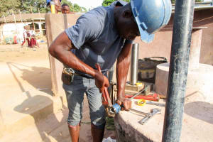 The Water Project: Kasongha Community, Maternal Child Health Post -  Pump Installation