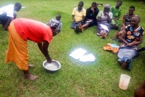 The Water Project: Mwituwa Community, Shikunyi Spring -  Handwashing Training