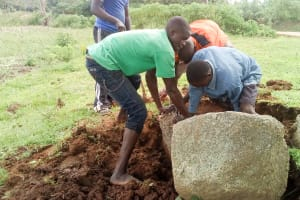 The Water Project: Musango Community, Jared Lukoko Spring -  Getting Stones For Construction