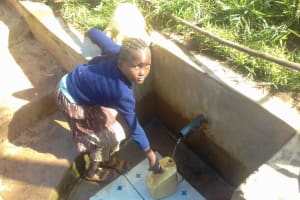 The Water Project: Irungu Community, Irungu Spring -  Filling Jerrican With Water