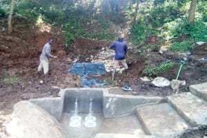 The Water Project: Irumbi Community, Okang'a Spring -  Spring Protection Construction