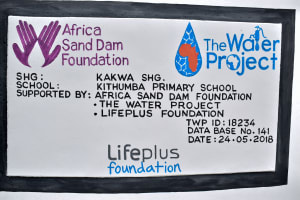 The Water Project: Kithumba Primary School -  Finished Tank