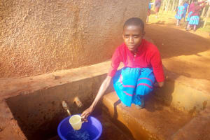 The Water Project: ADC Chanda Primary School -  Vivian Oside At The Water Tank