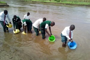 The Water Project: Kwirenyi Secondary School -  Students Fetching River Water