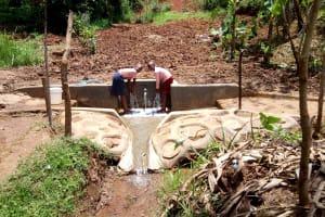 The Water Project: Irumbi Community, Shatsala Spring -  Flowing Water