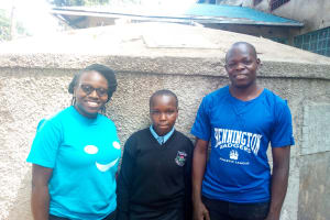 The Water Project: Friends Secondary School Shamakhokho -  Ivy Kagea And Enock Musalia At The Water Point